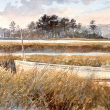 Long Marsh Skiff | Watercolor | 9x26 | SOLD
