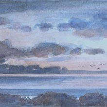 Bay Sunset | Watercolor | 4x12