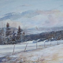 Winter On The High Meadow | Watercolor | 9x32